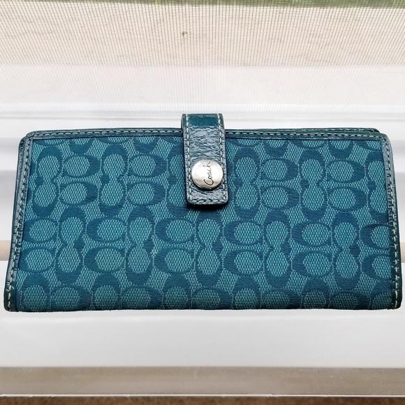 Coach Handbags - Coach Slimline Checkbook Wallet
